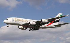 Download wallpapers 4k, passenger plane, Airbus A388, Emirates, air travel, passenger transportation, Airbus