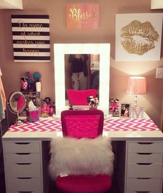 Hot Pink + White Drawers | Makeup Vanity | Chevron Print  Like this pin? Follow me for more @rosajoevannoy