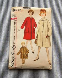 Vintage 1960s Simplicity Coat Pattern 4637 by sewsewetc on Etsy, $5.00