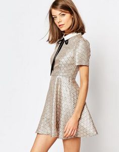 Sister Jane Camine Swing Dress With Tie Up In Tile Print
