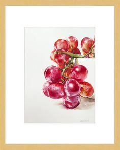 """Grape Study"" original fine art by Kara K. Painted Porcelain, Acrylic Art, Fine Art Gallery, Kara, Acrylics, Watercolor Painting, Study, Fruit, Wine Cellars"