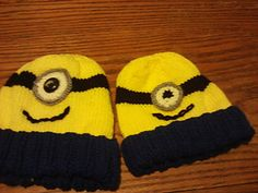 This is the pattern for my two needle minion inspired hats and scarf. The hats come in sizes: Adult, Child, Toddler and Baby. The scarf is just one size. You may make it any length that you want for larger or smaller sizes. The eyes on the hats are crocheted.