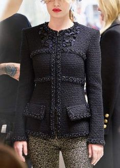 - Jacket Designs - Top part of outfit only. Top part of outfit only. Chanel Jacket Trims, Chanel Style Jacket, Chanel Coat, Chanel Fashion, High Fashion, Winter Fashion, Womens Fashion, Mode Chanel, Chanel Couture