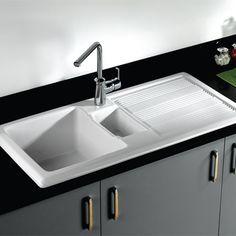 rak 1000 gourmet 15 bowl white ceramic kitchen sink waste kit with reversible drainer 1010 x 510mm - Ceramic Kitchen Sink