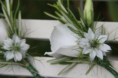 lisianthus, nigella and rosemary buttonholes
