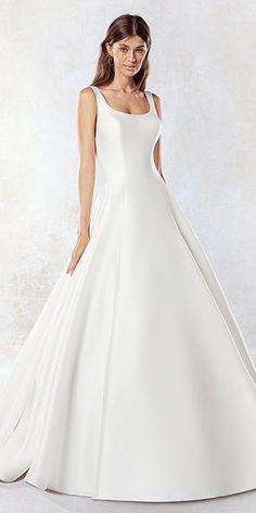 Marvelous Satin Illusion High Collar A-Line Wedding Dress With Pockets & Detachable Jacket