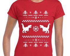 Tyrannosaurus Rex Ugly Christmas Sweater party holidays present santa x-mas t-rex - women's T-shirt- apparel clothing junior fit - IIT256