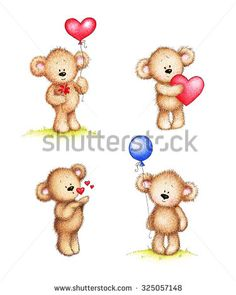 Set of cute teddy bears on white background