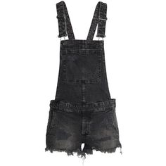 Bib Overall Shorts Trashed $39.99 ($40) ❤ liked on Polyvore featuring shorts, denim rompers, short overalls, denim short overalls and short rompers
