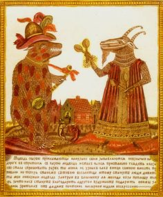 """inkmaps:    lunar-danse:    The Goat and the Boar"""" Russian lubok from 19th Century"""