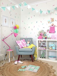 Love the colors and cute wallpaper! kids bedroom ideas for girls, simple girls bedroom Simple Girls Bedroom, Bedroom For Girls Kids, Little Girl Rooms, Trendy Bedroom, Kids Rooms, Room Kids, Kid Playroom, Child Room, Kids Girls