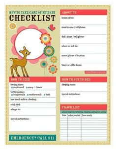 baby love babysitter checklist printable pdf - Baby Room Checklist