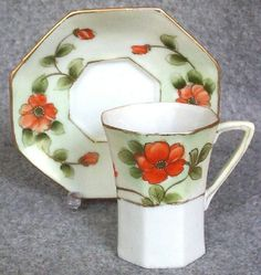 Lovely Nippon Octagonal Chocolate Cup and Saucer Set, Gilded Poppies, early 1900s