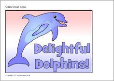 Dolphin class group signs (SB9568) - SparkleBox