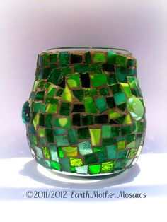 My dear friend is a mosaic artist and she does beautiful work, I have this same votive holder in a gorgeous blue!
