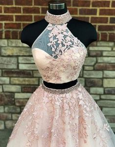 New Arrival Pink Prom Prom Dresses 2 pieces Long Sexy 2 piece Lace Prom Gown Blush Pink Prom Dresses, Prom Dresses Two Piece, Cute Prom Dresses, Prom Dresses 2018, Cheap Bridesmaid Dresses, Two Piece Dress, Prom Gowns, Long Dresses, Formal Dresses