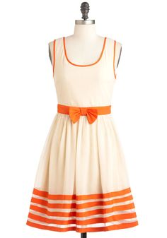 Cute As a Cupcake Dress - Cream, Orange, Solid, Bows, Trim, Party, A-line, Sleeveless, Spring, Mid-length