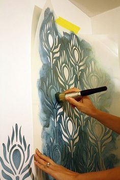 ideas for bedroom paint teal laundry rooms Diy Wall Painting, Stencil Painting On Walls, Stencil Diy, Stencil Designs, Teal Laundry Rooms, Toddler Fine Motor Activities, Dark Walls Living Room, Boho Duvet Cover, Teal Paint