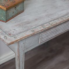 Period Gustavian provincial table with one drawer, ca 1810. Top in original color