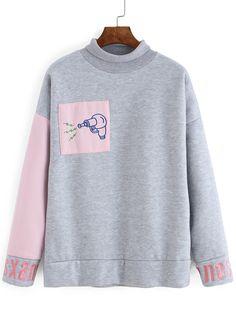 High Neck Embroidered Loose Grey Sweatshirt
