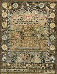 BETSY WARDWELL (1785-1817)  A silk on linen pictorial sampler, 1797 Price realized: $329,600 World a...