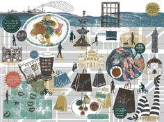 Brighton map illustration - Coast 2012 : Alice Pattullo Illustration