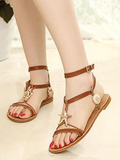 Brown Strappy Metallic Starfish Embellished Flat Sandals