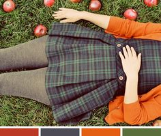 I can't wear orange near my face, but I do like it combined like this. Color Inspiration: October - Photo by Elle Moss