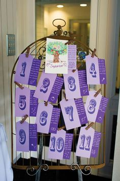 Cool table plan idea for a vintage wedding #wedding #purple <3 themarriedapp.com hearted <3