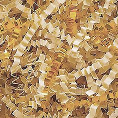 Custom and Unique {4 Ounces} of Crinkle Cut Shredded Gift Basket Filler Paper Made From Cardstock w/ Bright Mixed Matte and Metallic Blend Elegant Cream Holiday Design (Gold and Off White) *** Want to know more, click on the image.