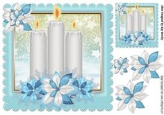 Pretty candles in turq snow frame with snowflakes 8x8 on Craftsuprint - View Now!