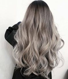 Yes, that's all her real hair. No extensions needed! 😱 This rooty ash look wa… Yes, that's all her real hair. No extensions needed! 😱 This rooty ash look was done by . Ashy Blonde Hair, Balayage Hair, Ombre Hair, Ash Grey Hair, Blonde To Silver Hair, Grey Dyed Hair, Medium Ash Blonde Hair, Light Ash Brown Hair, Balayage Color