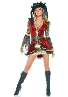 """Sexy """"Seven Seas Seductress"""" Pirate Roleplay Costume w/Hat by Forplay Adult S/M Sexy Pirate Costume, Pirate Halloween Costumes, Scary Costumes, Halloween Outfits, Girl Costumes, Adult Costumes, Costume Ideas, Halloween Ideas, Christmas Costumes"""
