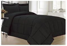 Black Comforter Set Soft Plush Down Alternative Bedding Queen or King Shams Black Comforter Sets, Luxury Comforter Sets, Cheap Bedding Sets, Cheap Bed Sheets, Best Bedding Sets, Bedding Sets Online, Queen Comforter Sets, Black Bedding, Affordable Bedding
