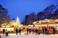 The English Garden Christmas Market in Munich, Germany.