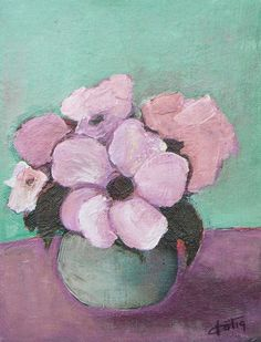 Pintura de acrílico original rosa flores en florero por VESNAsART                                                                                                                                                                                 Más