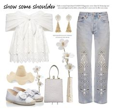 """""""Show Some Shoulder"""" by conch-lady ❤ liked on Polyvore featuring Fendi, Sea, New York, Bliss and Mischief, Arteriors, RAS, Rosie Assoulin, Fornash, espadrille, offshouldertop and showsomeshoulder"""