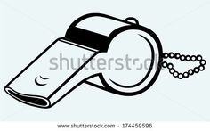 Sports whistle with pea. Image isolated on blue background