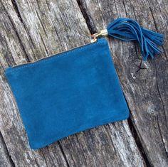 Calf Suede Clutch Bag - gorgeous teal