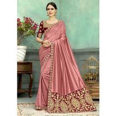 16d4ba8046 Light Pink Chenderi Silk Party Wear Zari Work Saree 22-17306 Pearl Work  Saree,