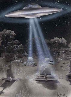 Kesara Art // ufo@graveyard   Flickr - Photo Sharing! What are they doing? Resurrecting the dead?