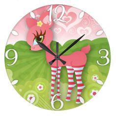 Lovely Pink Deerie #Wallclock #zazzle