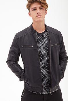 Collarless Moto Jacket   21 MEN - 2000068541