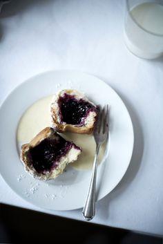 Blackberry Buns with Warm Vanilla Sauce