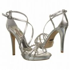 SALE - Badgley Mischka Gelsey High Heels Womens Silver Leather - Was $255.00 - SAVE $26.00. BUY Now - ONLY $229.50.