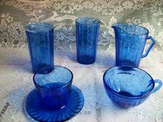 1930s AURORA COBALT BLUE DEPRESSION GLASS LOT 5 PIECES