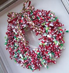 Wrapping paper wreaths
