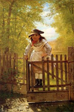 """The Tomboy"" (1873), by English-born American artist - John George Brown (1831-1913), Oil on canvas, 45.72 x 30.48 cm. (18 x 12 in.), Private collection."