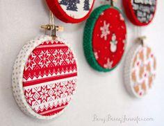 Easy Mini Hoop Christmas Ornaments - BusyBeingJennifer.com #101HandmadeDays