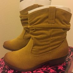 Ombré Mustard Suede Boot Color is Mustard. Cute bootie with a bit of ombré. Brand new in original box. Qupid Shoes Ankle Boots & Booties